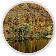 Lake District Autumn Tree Reflections Round Beach Towel