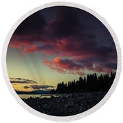 Round Beach Towel featuring the photograph Lake Dreams by Jan Davies