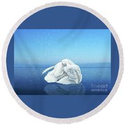 Lake Effects And The Trumpeter Swan Round Beach Towel by Janette Boyd