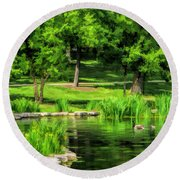 Round Beach Towel featuring the painting Lake Ellyn Geese by Christopher Arndt