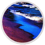 Round Beach Towel featuring the photograph Lake Erie Shore Abstract by Shawna Rowe