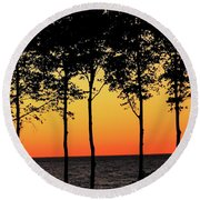 Round Beach Towel featuring the photograph Lake Erie Silhouettes by Bruce Patrick Smith
