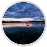 Round Beach Towel featuring the photograph Lake Evening by Tom Singleton