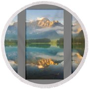 Lake Fusine In Triptych Round Beach Towel