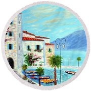 Round Beach Towel featuring the painting Lake Garda Bliss by Larry Cirigliano