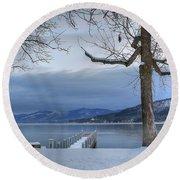 Lake George In The Winter Round Beach Towel by Sharon Batdorf