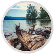 Round Beach Towel featuring the photograph Lake George Palette by Kendall McKernon