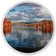 Lake George Panorama  Round Beach Towel
