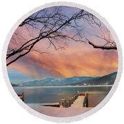 Lake George Winter Sunrise Round Beach Towel