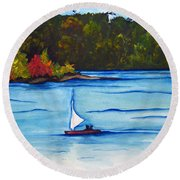 Lake Glenville  Sold Round Beach Towel by Lil Taylor