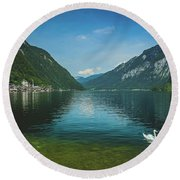 Lake Hallstatt Swans Round Beach Towel