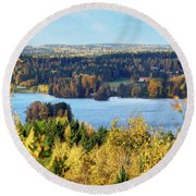 Lake Hiidenvesi Autumnscape Round Beach Towel