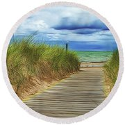 Round Beach Towel featuring the photograph Lake Huron Boardwalk by Bill Gallagher