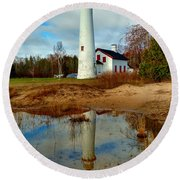 Lake Huron Lighthouse Round Beach Towel by Michael Rucker