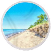 Round Beach Towel featuring the painting Lake Huron Shoreline by Maciek Froncisz