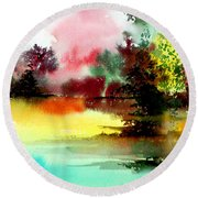 Lake In Colours Round Beach Towel by Anil Nene