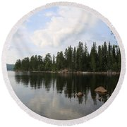 Lake In The Woods Round Beach Towel