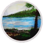Lake In Virginia The Painting Round Beach Towel