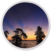 Lake Istokpoga Sunrise Round Beach Towel