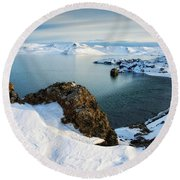 Round Beach Towel featuring the photograph Lake Kleifarvatn Iceland In Winter by Matthias Hauser
