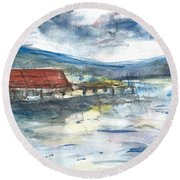 Round Beach Towel featuring the painting Lake Leatherwood Eureka Springs Boat Dock  by Reed Novotny