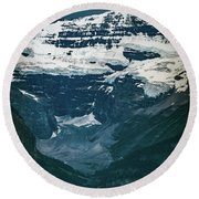 Round Beach Towel featuring the photograph Lake Louise At Distance by William Lee