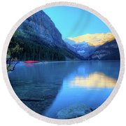 Lake Louise Autumn Bright Sunrise Banff National Park Round Beach Towel