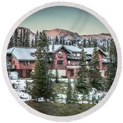 Round Beach Towel featuring the photograph Lake Louise Lodge by Bill Howard