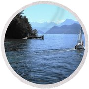 Lake Lucerne Round Beach Towel by Therese Alcorn