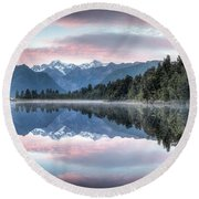 Lake Matheson Panorama Round Beach Towel