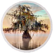 Lake Maurepas In Pastels Round Beach Towel