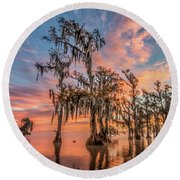 Lake Maurepas On Fire Round Beach Towel