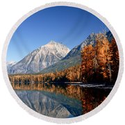 Lake Mcdonald Autumn Round Beach Towel