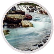 Lake Mcdonald Falls, Glacier National Park, Montana Round Beach Towel