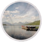 Round Beach Towel featuring the photograph Lake Mcdonald by Margaret Pitcher