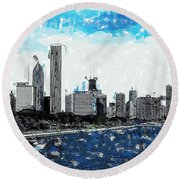 Lake Michigan And The Chicago Skyline Round Beach Towel