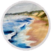 Lake Michigan Beach With Whitecaps Detail Round Beach Towel