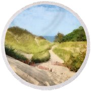 Round Beach Towel featuring the photograph lake Michigan Coastal Dune Path by Michelle Calkins