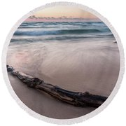 Round Beach Towel featuring the photograph Lake Michigan Driftwood by Adam Romanowicz