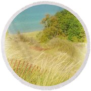 Round Beach Towel featuring the photograph Lake Michigan Dune View by Michelle Calkins