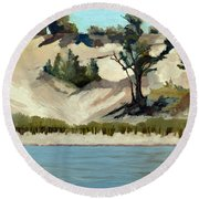 Round Beach Towel featuring the painting Lake Michigan Dune With Trees And Beach Grass by Michelle Calkins