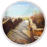 Round Beach Towel featuring the photograph Lake Michigan In The North by Michelle Calkins