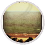 Lake Michigan M-22 Overlook Round Beach Towel