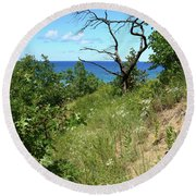 Round Beach Towel featuring the photograph Lake Michigan Near Cowles Bog by Scott Kingery