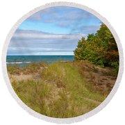 Lake Michigan Shore Round Beach Towel