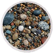 Round Beach Towel featuring the photograph Lake Michigan Stone Collection by Michelle Calkins