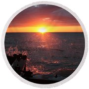 Round Beach Towel featuring the photograph Lake Michigan Sunset by Bruce Patrick Smith