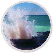 Lake Michigan Wave Crash Round Beach Towel