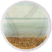Round Beach Towel featuring the photograph Lake Michigan With Stony Shore by Michelle Calkins