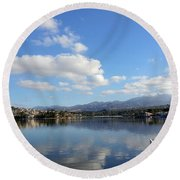 Lake Mission Viejo Cloud Reflections Round Beach Towel